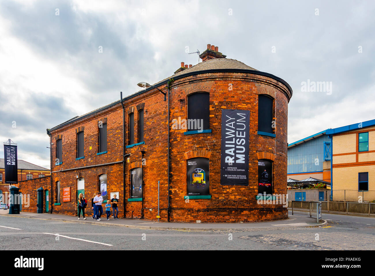 York Railway Museum building exterior with signages - Stock Image
