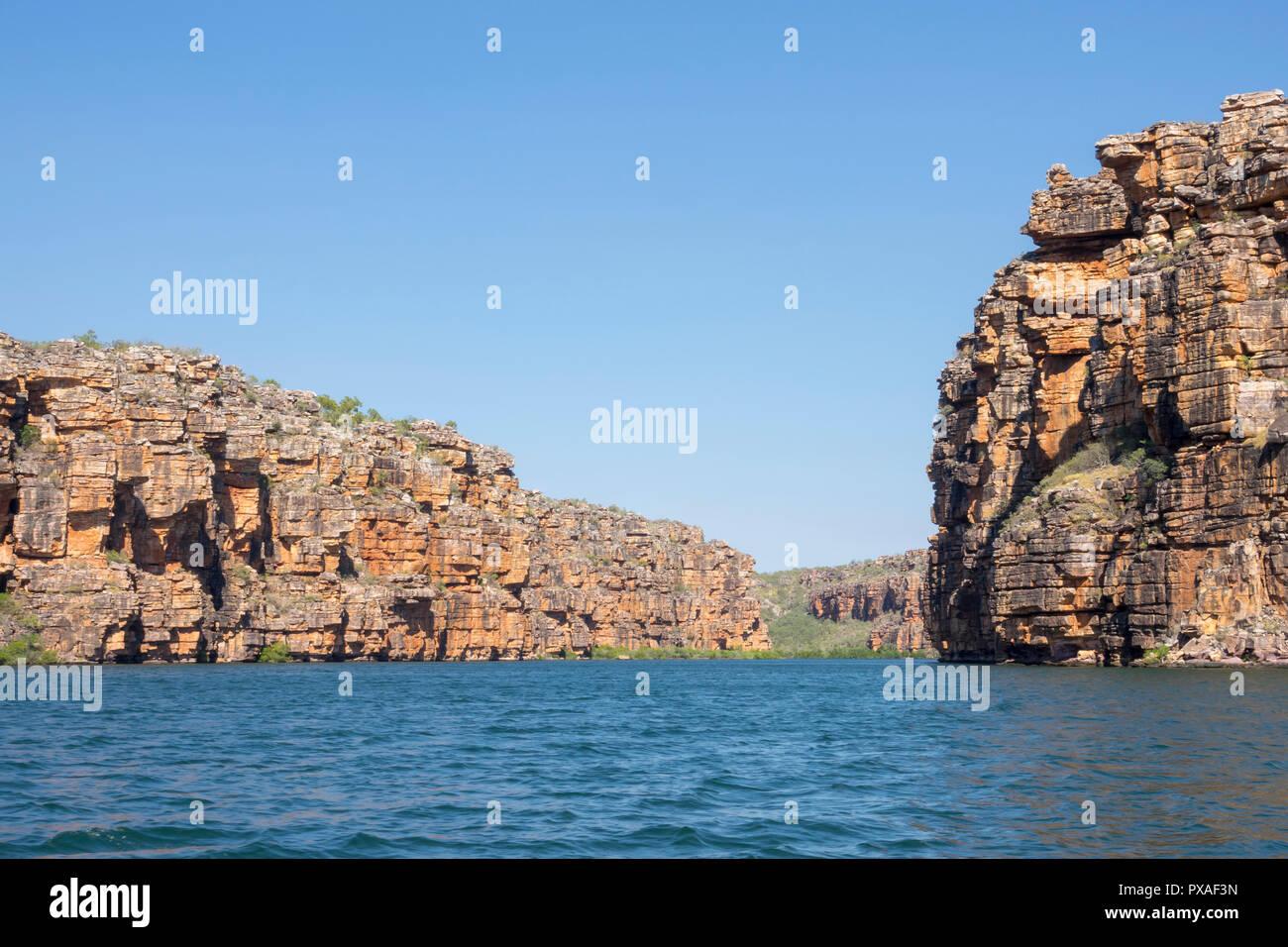 Zodiac cruising on the King George River, Kimberley Coast, Western Australia - Stock Image
