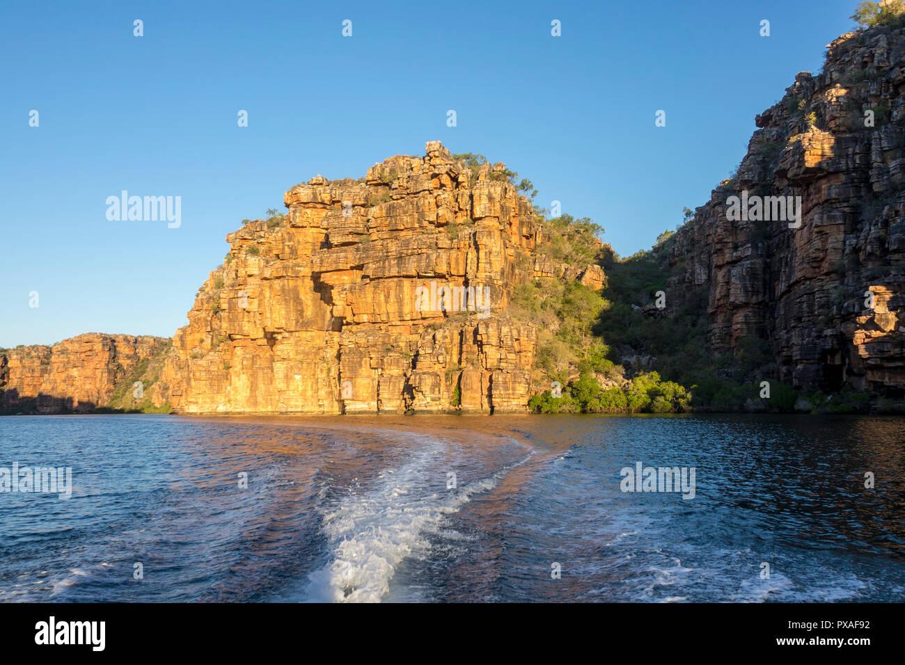 Zodiac cruising on the King George River, Western Australia - Stock Image