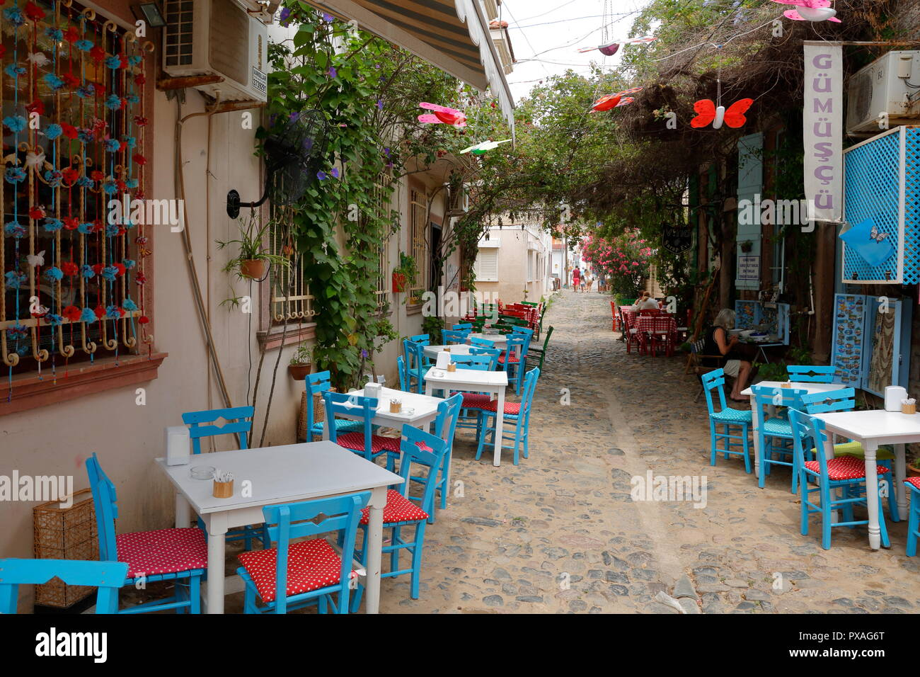 Ayvalık, Cunda adası / Turkey - June 2015: is a pleasant resort town with quaint and narrow streets with its natural beauty. - Stock Image