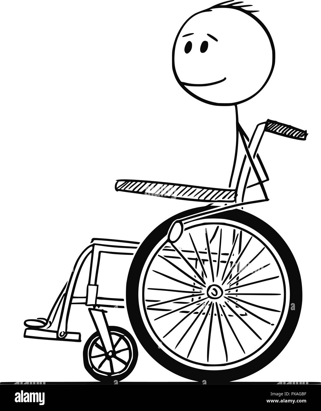 Cartoon of Smiling Disabled Man Sitting on Wheelchair - Stock Image