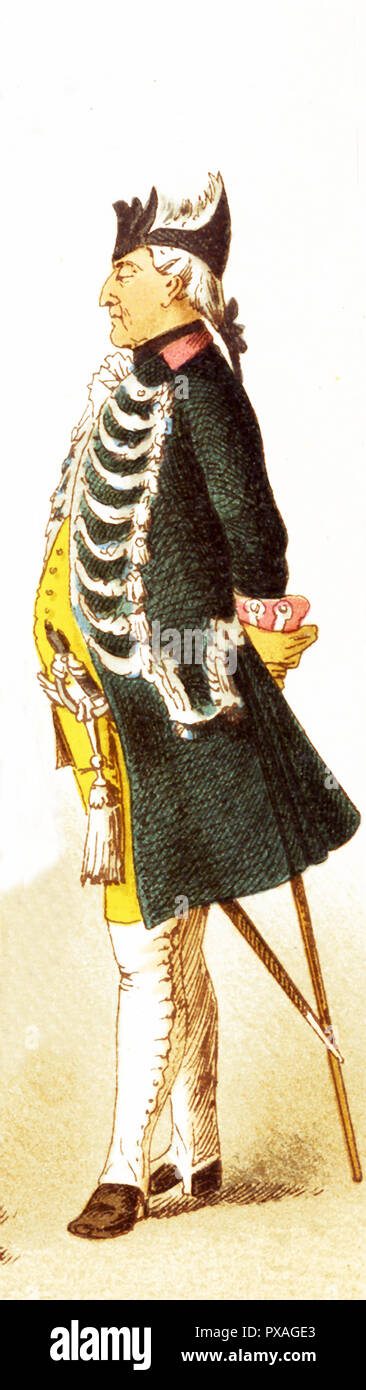 The Figure represented is a German officer of infantry of the guard in the 1700s. The illustration dates to 1882. - Stock Image