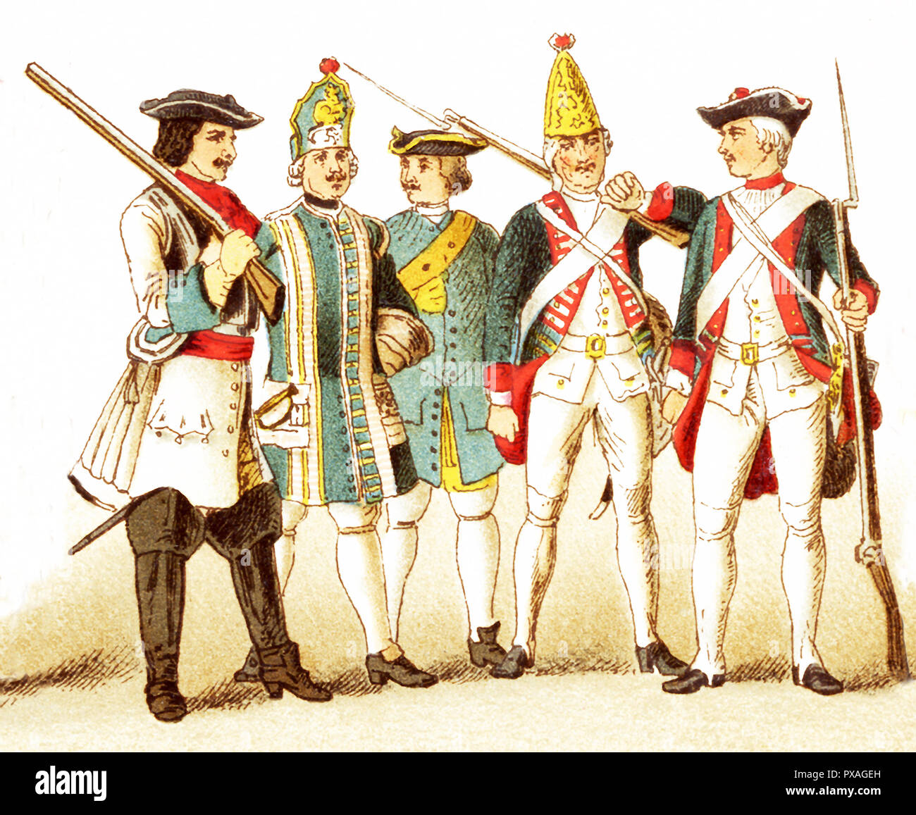The Figures represented here are Germans and Prussians and are, from left to right: a Brandenberg cuirassier in 1700, a Prussian infantry musician in 1704,  a Prussian artillery man in 1708, a Prussian grenadier in 1756, and a Prussian infantry in 1741 The illustration dates to 1882. - Stock Image