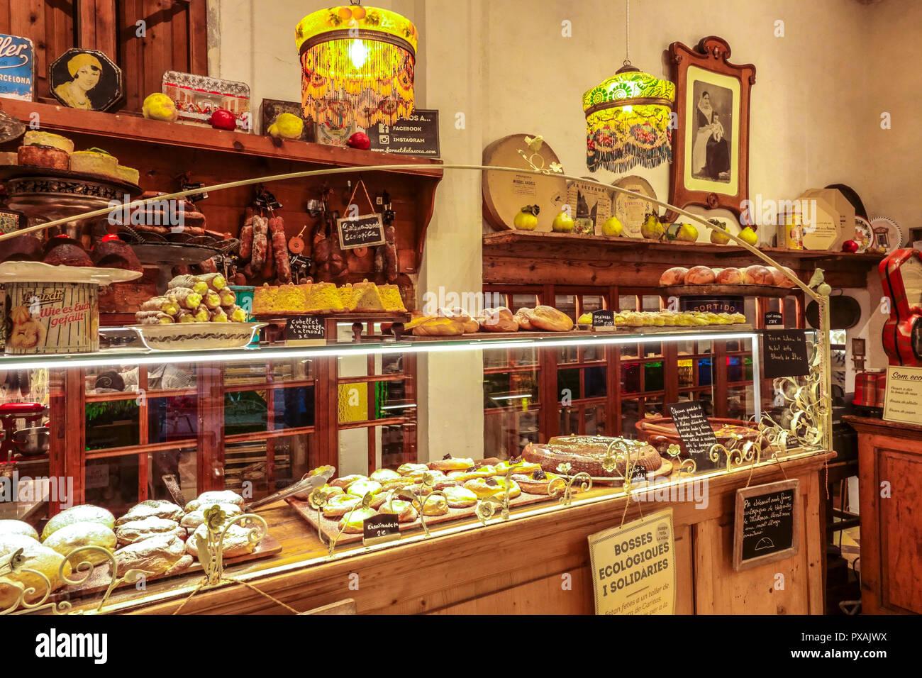 Palma, famous cake shop Forn des Teatre, Interior, Palma de Majorca Spain - Stock Image
