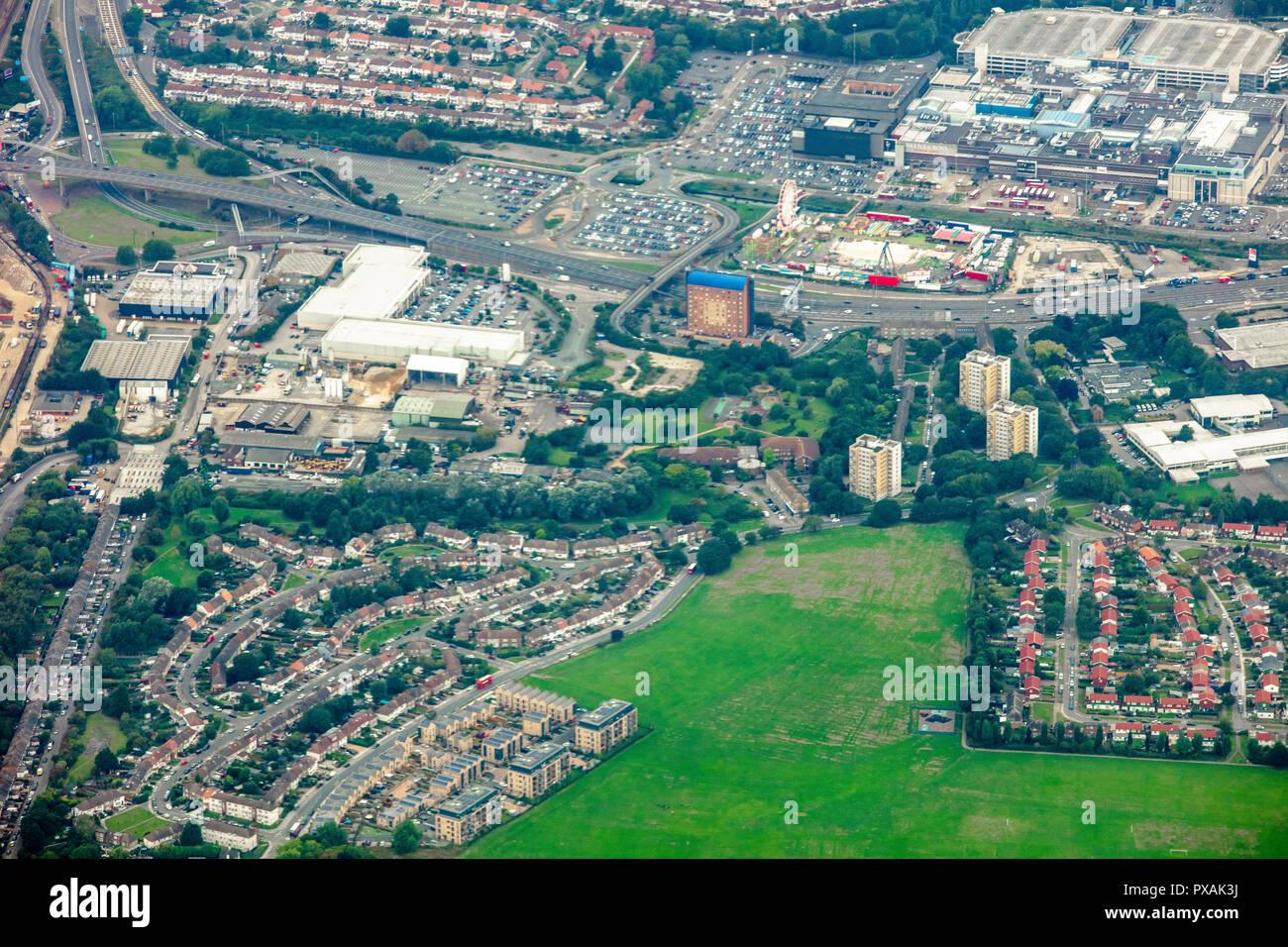 London, UK - September 04 2018: High altitude aerial view of Brent Cross urban neighbourhood featuring Cricklewood & Hendon Station, Brent Reservoir - Stock Image