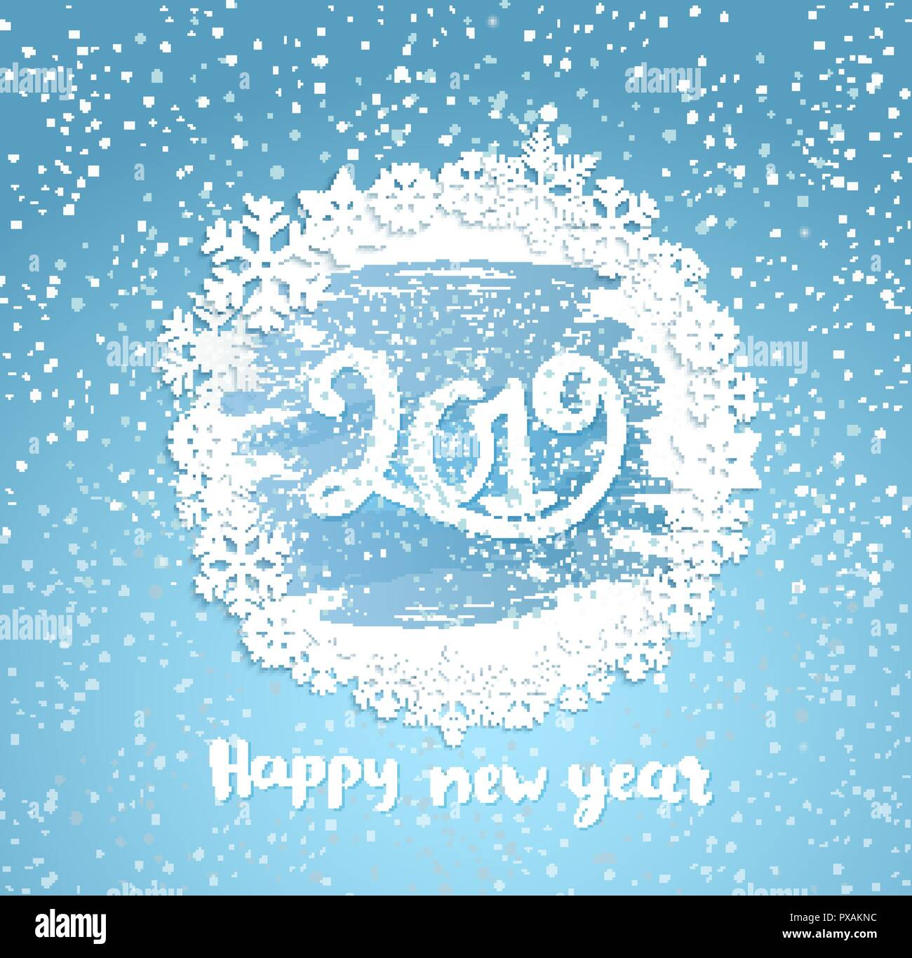 2019 happy new year greeting card with vintage frame from snowflakes on frosty window greeting new year with wishing happy holidays hand drawn lettering