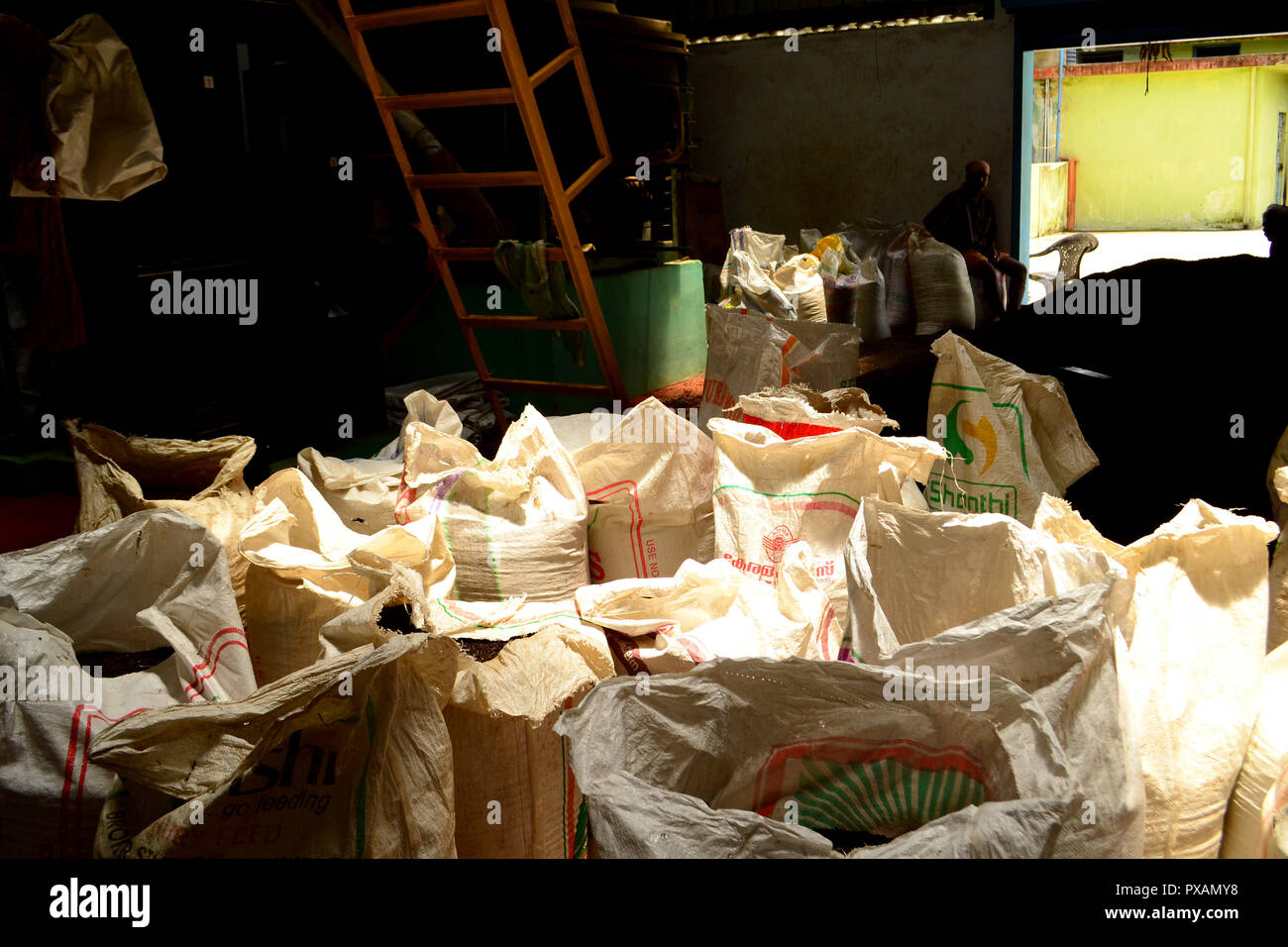 sacks full of pepper - Stock Image