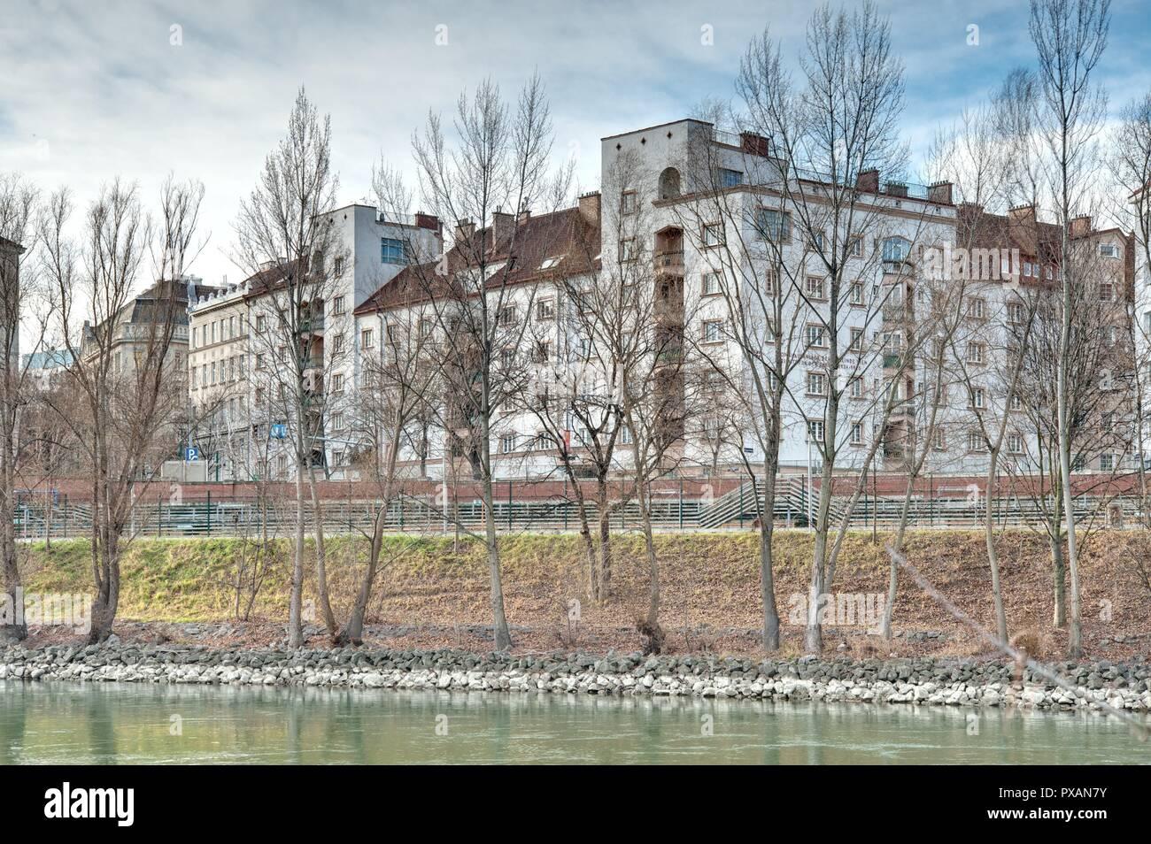 Wien, Gemeindebau des 'Roten Wien' - Vienna, Council Tenement Block, 'Red Vienna', Sigmund Freud-Hof, Gussenbauergasse 3–5, Josef Tölk, Ludwig Tremmel - Stock Image