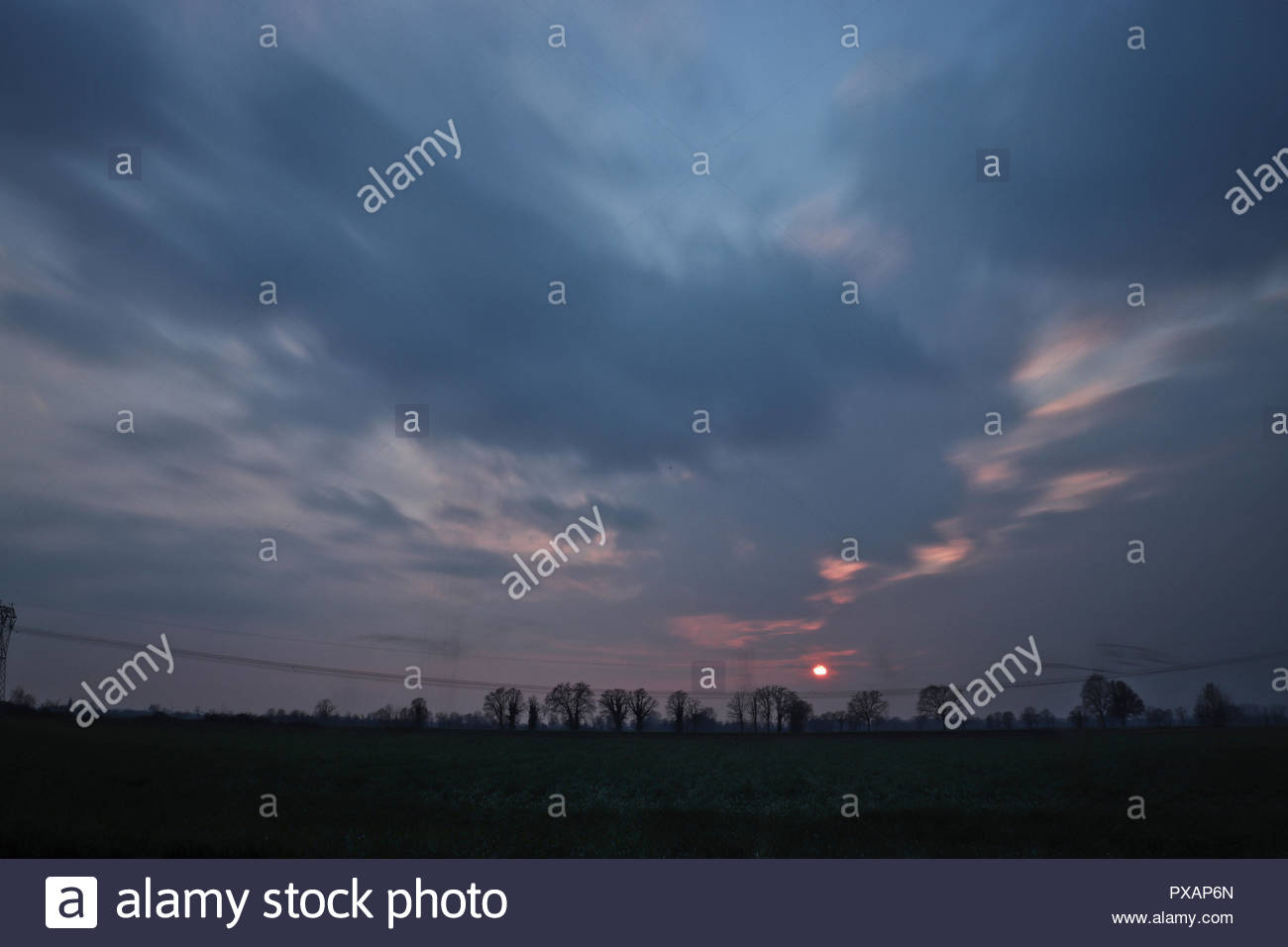 Blue hour in country side, Italy - Stock Image