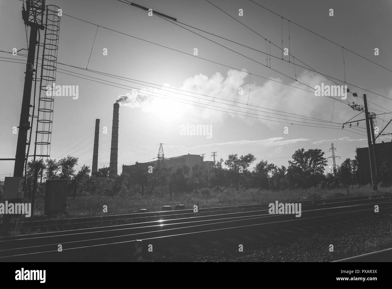 thermal power plant near  - Stock Image