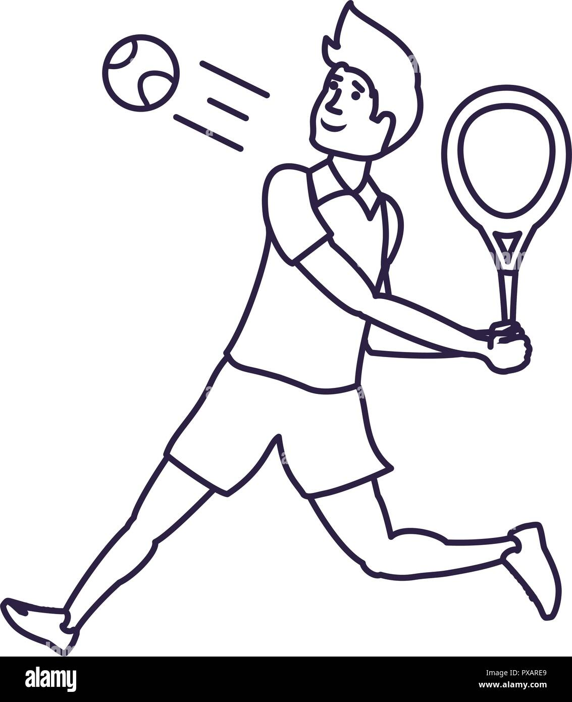 Man Tennis Playing With Racket Vector Illustration Design Stock Vector Image Art Alamy