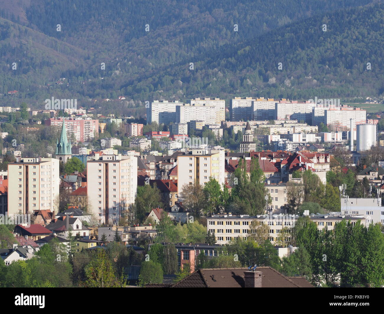 Cityscape panorama of european Bielsko-Biala city and countryside landscape at Beskids in POLAND - Stock Image