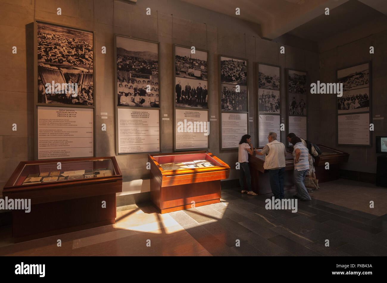Armenia, Yerevan,Tsitsernakaberd, visitor center, Armenian Genocide Memorial Complex, 1966-1967, designed by  architects Arthur Tarkhanyan, Sashur Kal - Stock Image