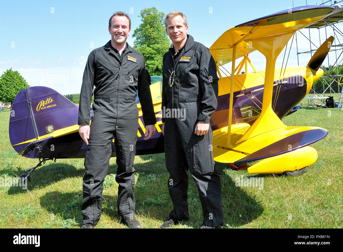 Richard Grace and Dave Puleston, pilots of The Pitts Pair Trig Aerobatic Team at Henham Park, Suffolk, UK, for an airshow. - Stock Image