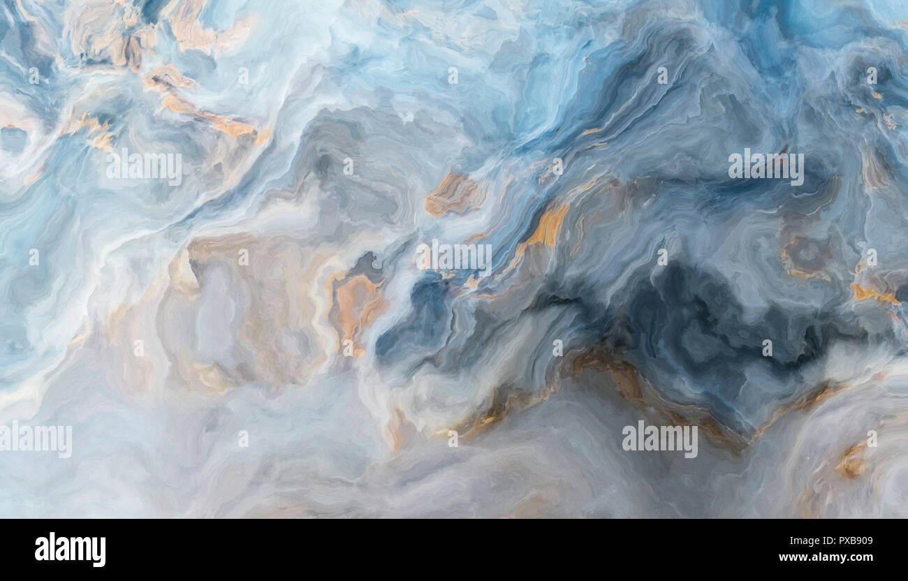 Blue Marble Pattern With Grey And Gold Inclusions Abstract Texture And Background 2d Illustration Stock Photo Alamy