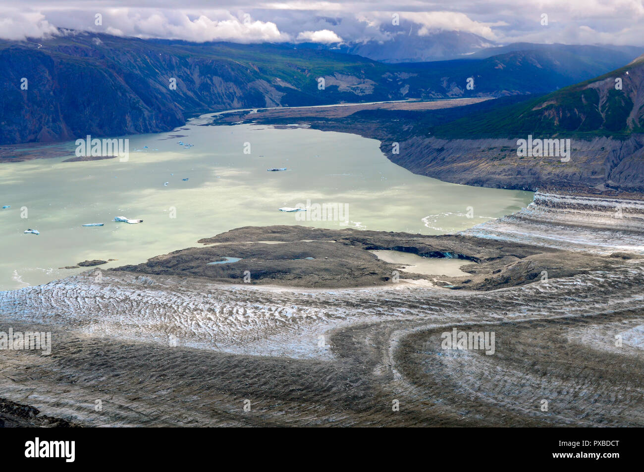 Lowell Glacier Edge and Lake with Icebergs, Kluane National Park, Yukon - Stock Image