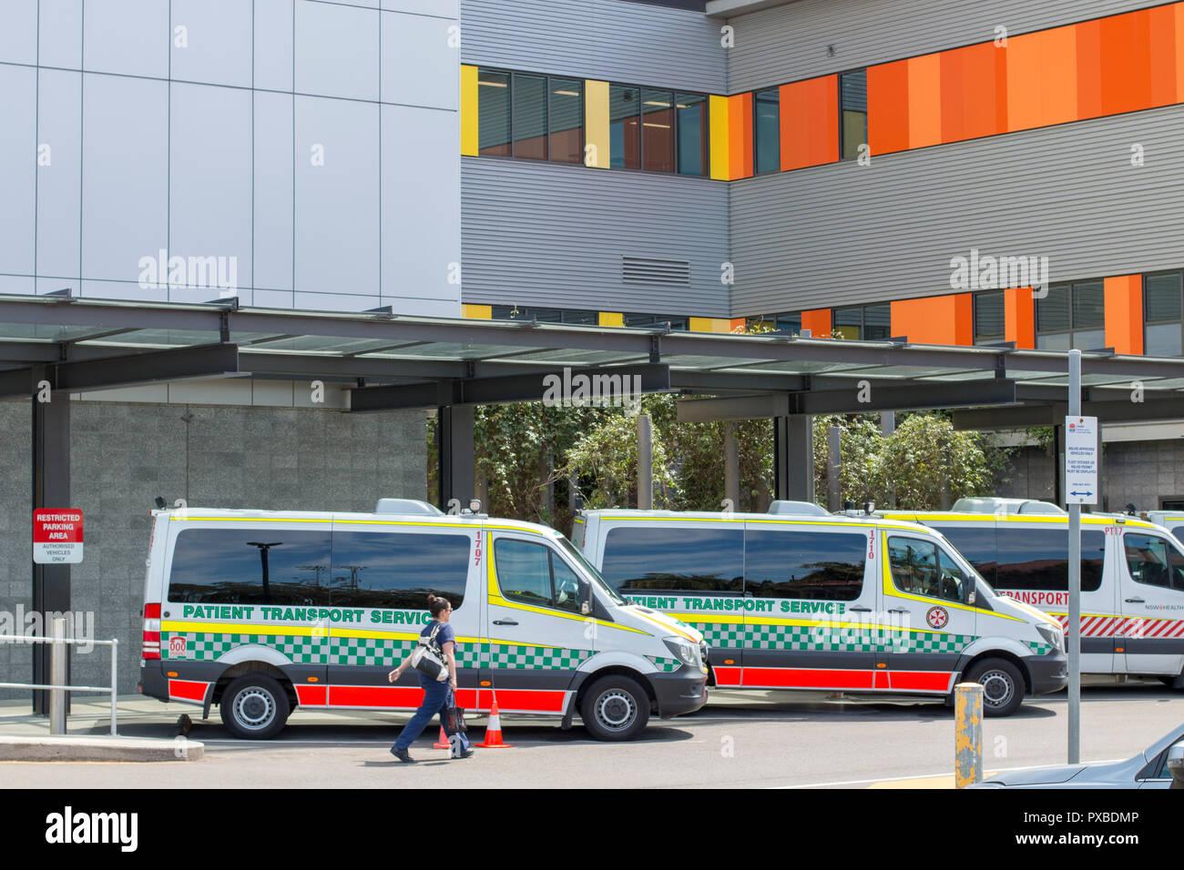 Ambulance vehicles at Royal North Shore Hospital in Sydney,Australia - Stock Image