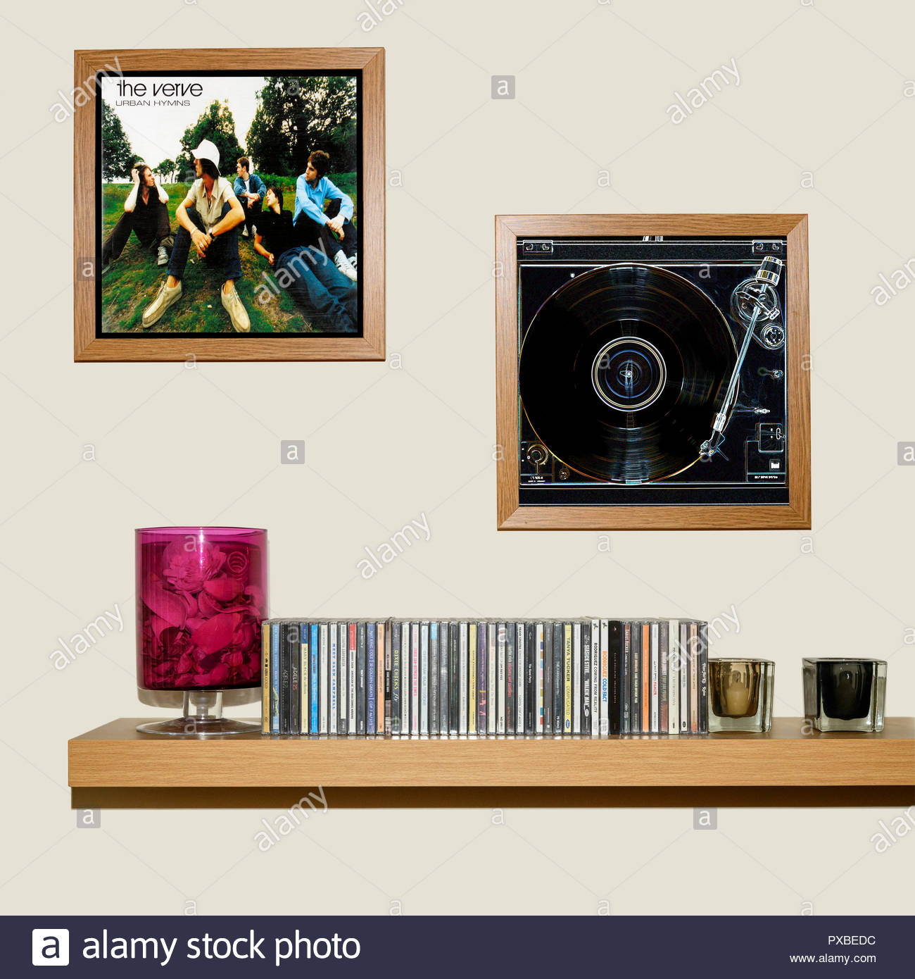 CD Collection and framed The Verve 1997 album Urban Hymns, England Stock Photo