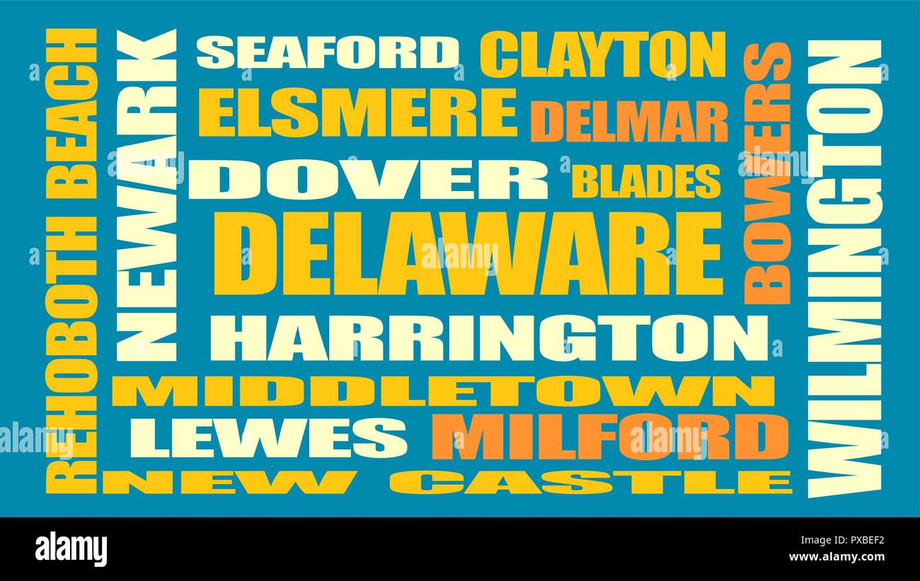 delaware state cities list - Stock Image