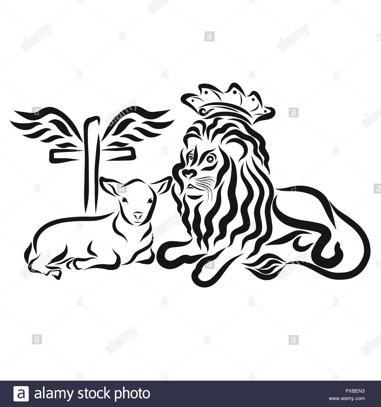 Humble Lamb And Lion King Cross With Wings Sacrifice And Victory