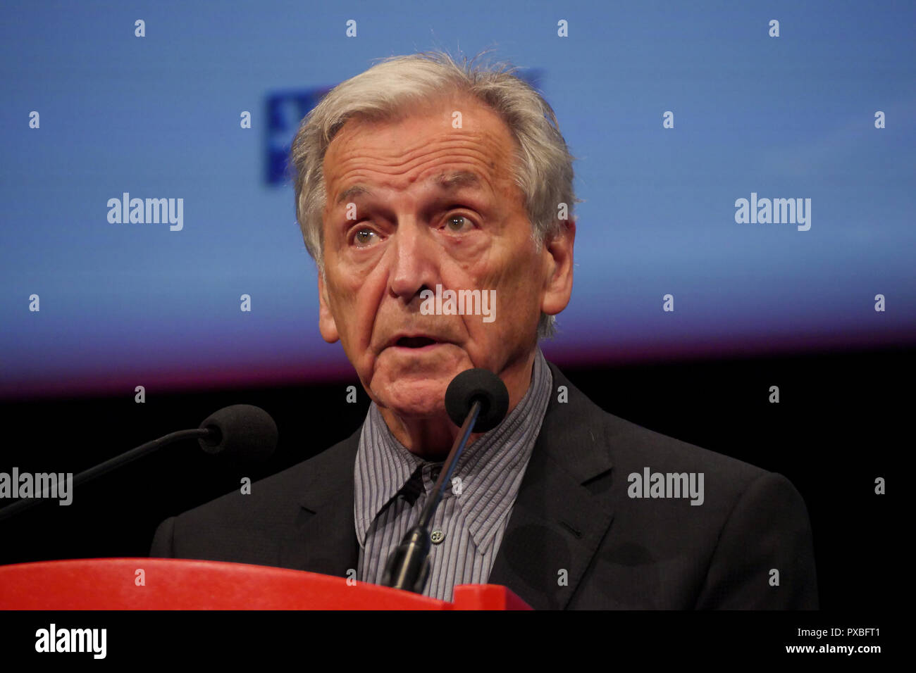 Greek-French film maker Costa Gavras delivers speech during a 10th Lumiere Film Festival, Lyon, France - Stock Image