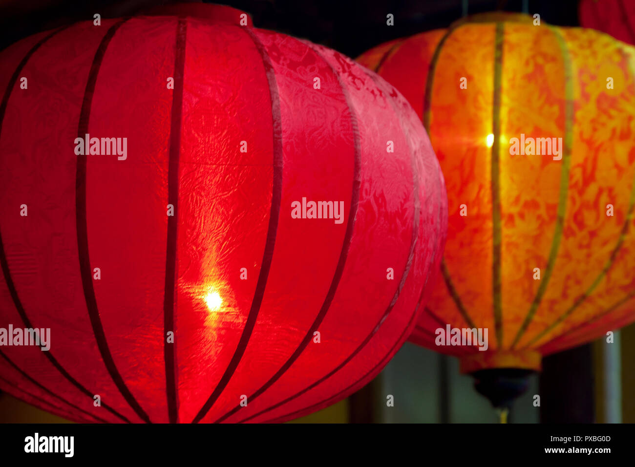 Glowing Red Decorative Chinese Lanterns Side View Stock