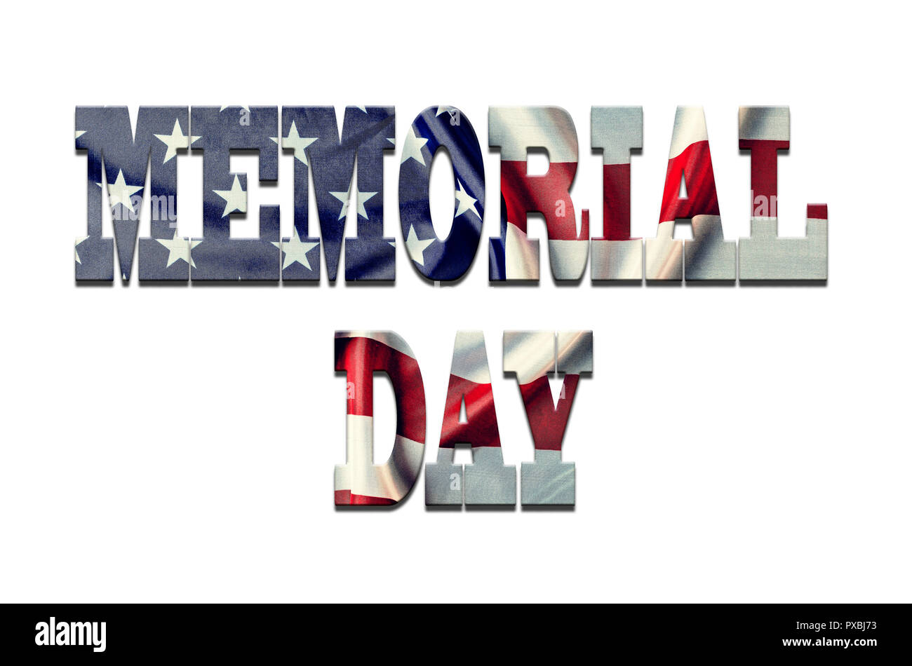 Text DAY MEMORY on a white background  Texture font - American flag