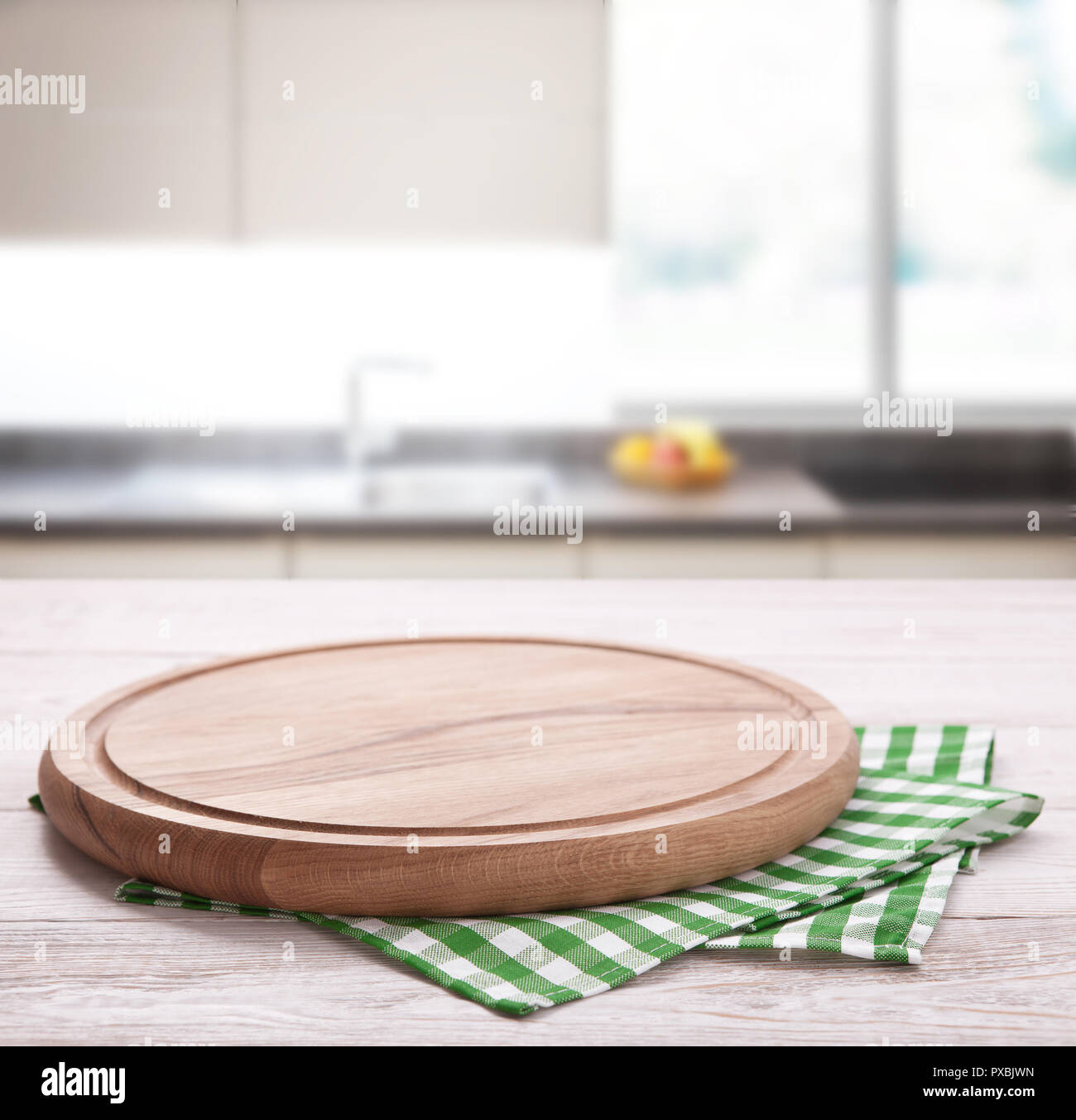 Kitchen Towel On Wooden Table On Kitchen Interior Background Napkin