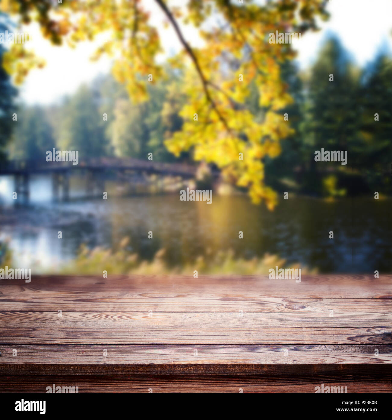 Empty Wooden Table Over Blurred Trees And River As Background Product Display Template Stock Photo Alamy