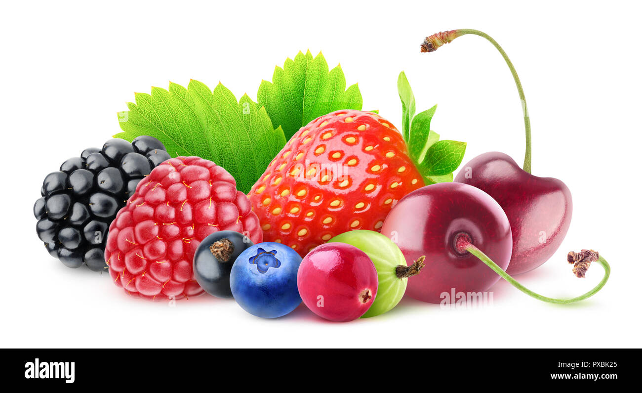 Isolated berries. Pile of fresh fruits (blackberry, raspberry, black currant, blueberry, cranberry, gooseberry, strawberry and cherries) isolated on w Stock Photo