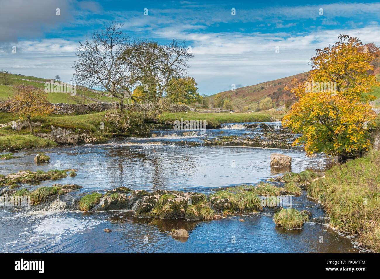 Yorkshire Dales National Park autumn landscape, the upper reaches of the river Wharfe, Langstrothdale, UK Stock Photo