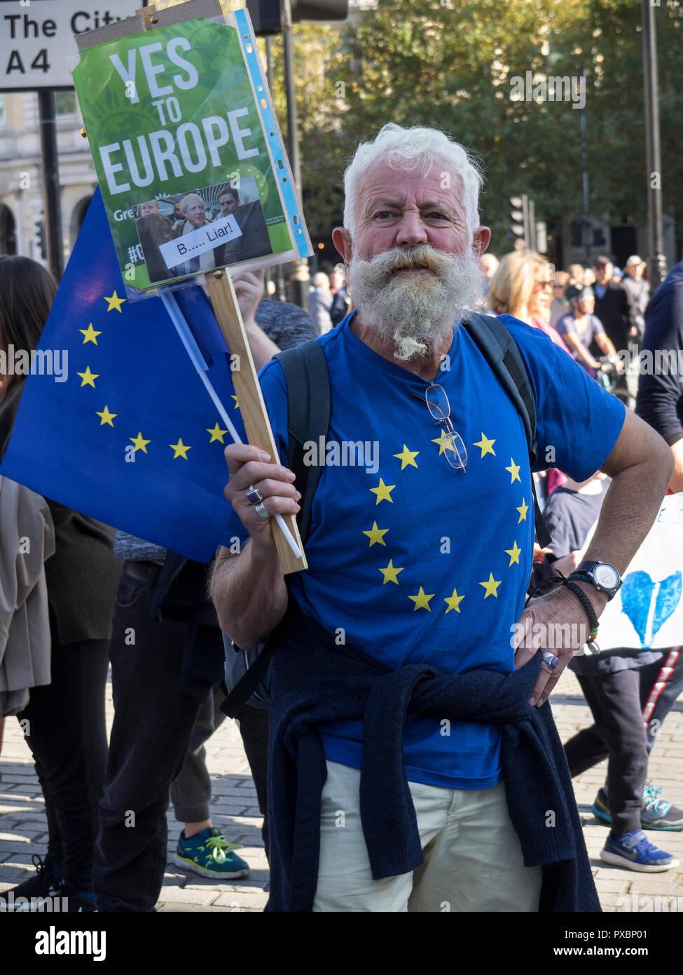 Pro-European protestor against Brexit - Stock Image