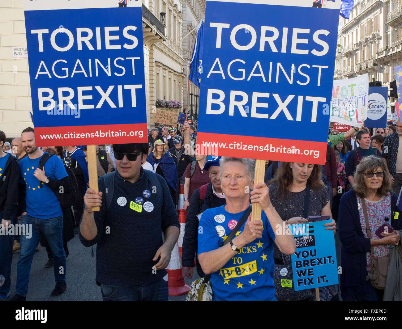 Conservative Party supporters against Brexit in the peoples march for a second referendum on EU membership - Stock Image