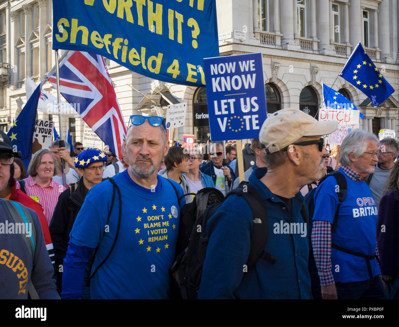 Anti Brexit Campaigners march through London - Stock Image