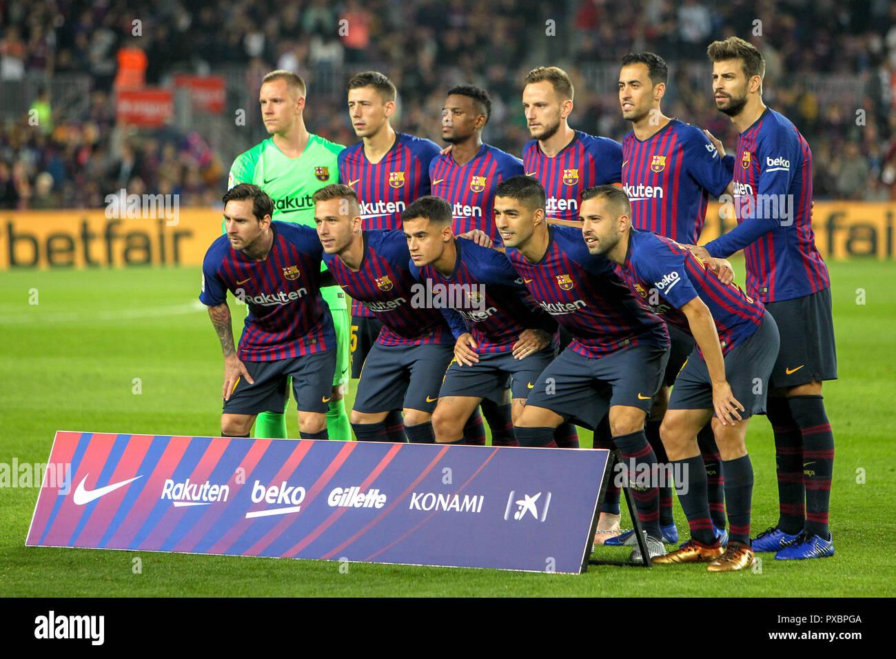 Camp Nou Barcelona Spain 20th Oct 2018 La Liga Football Barcelona Versus Sevilla Fc Barcelona Team Line Up Credit Action Plus Sports Alamy Live News Stock Photo Alamy