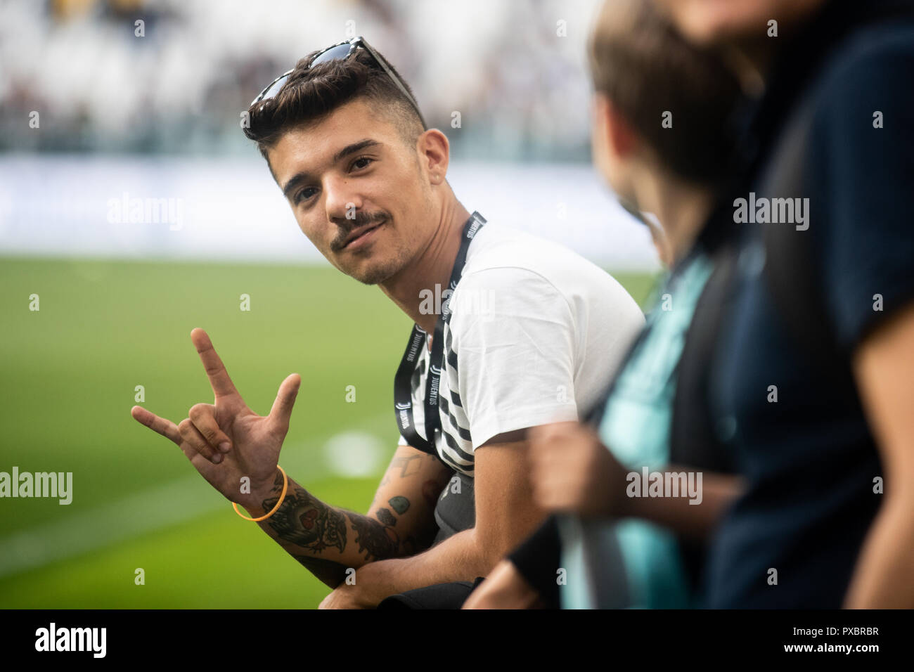 The italian rapper Moreno Donadoni during the Serie A match between Juventus and Genoa at the Allianz Stadium, the final score was 1-1 in Turin, Italy on 20 October 2018. Stock Photo