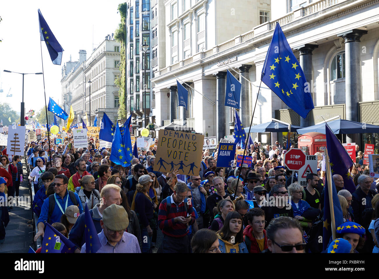 London, UK. 20th Oct, 2018. Protestors on the People's Vote march through the centre of London. Credit: Kevin J. Frost/Alamy Live News - Stock Image