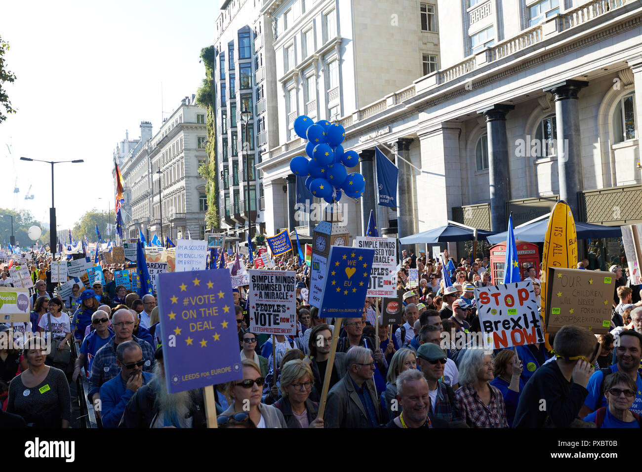 London, UK. 20th Oct, 2018. Placards held aloft at the People's Vote march through the centre of London. Credit: Kevin J. Frost/Alamy Live News Stock Photo