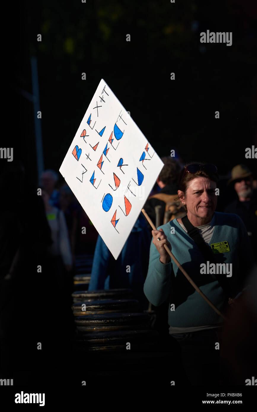 London, UK. 20th Oct, 2018. Placard held by an anti-Brexit demonstrator in the march on Saturday 20th October 2018 at central London to protest against the UK leaving the EU. Credit: Michael Foley/Alamy Live News - Stock Image
