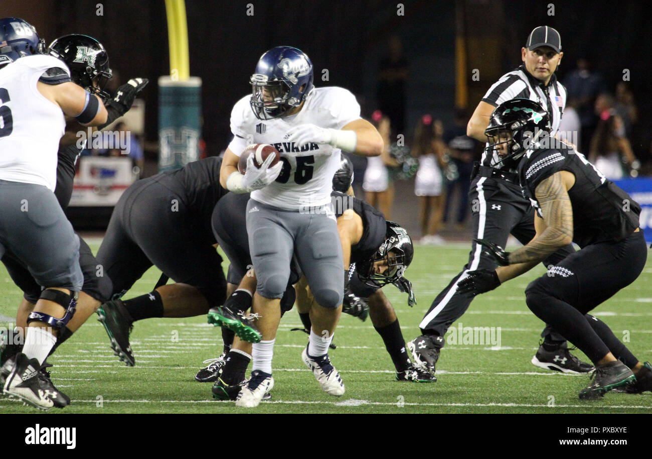 October 20, 2018 - Nevada Wolf Pack running back Toa Taua #35 spins around while running late in the fourth quarter during a game between the Hawaii Rainbow Warriors and the Nevada Wolf Pack at Aloha Stadium in Honolulu, HI - Michael Sullivan/CSM - Stock Image