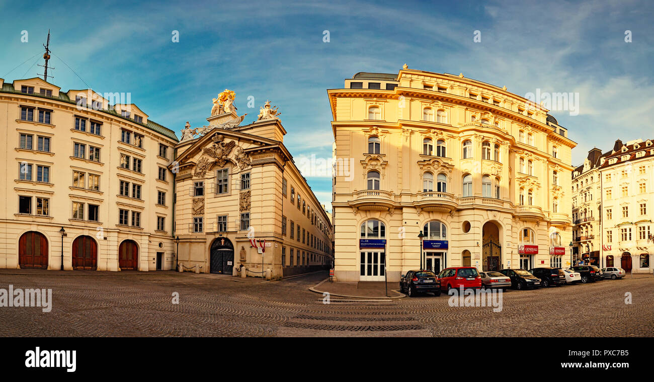 View of the zentralfeuerwache (firebrigade) building and Generali Insurance Company Building at Am Hof square in Vienna, Austria. - Stock Image