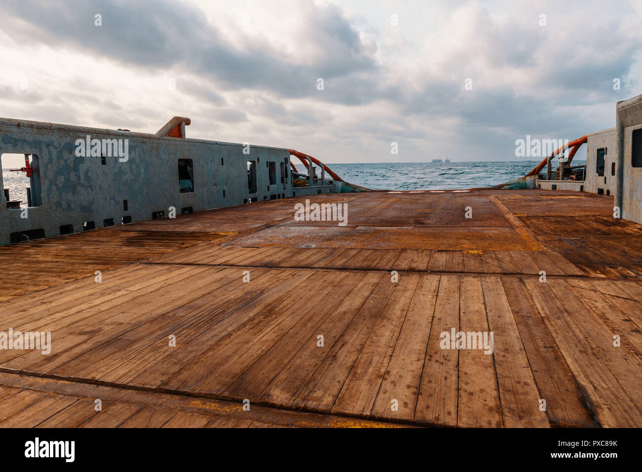 Anchor handling Tug Supply AHTS vessel deck Stock Photo