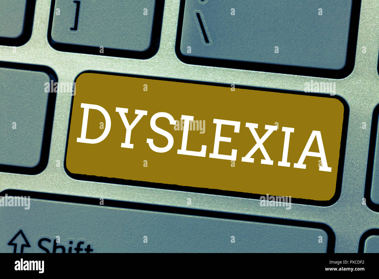 Handwriting text Dyslexia. Concept meaning Disorders that involve difficulty in learning to read and improve. - Stock Image