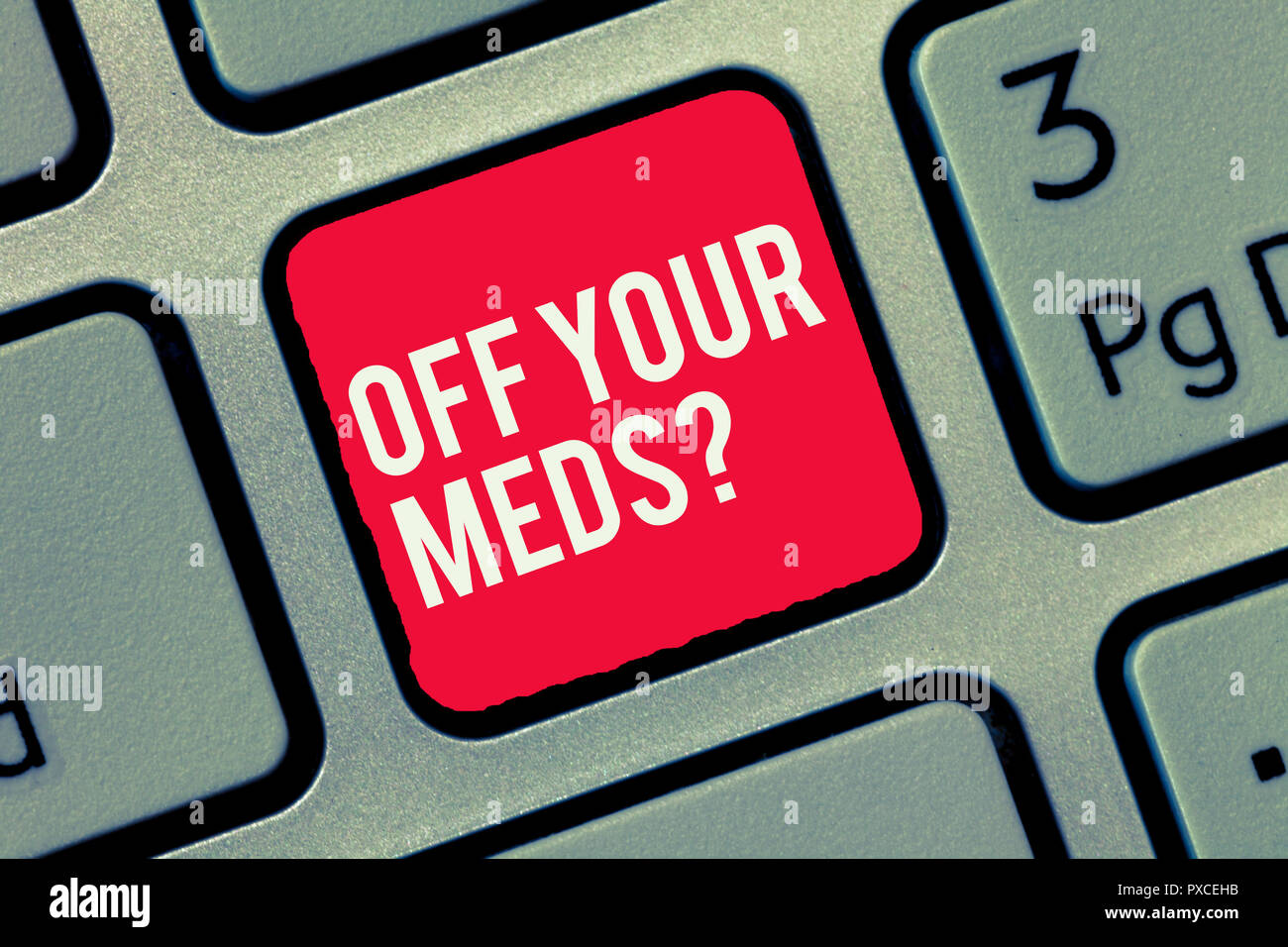 Word writing text Off Your Meds question. Business concept for Stopping the usage of prescribe medications. - Stock Image