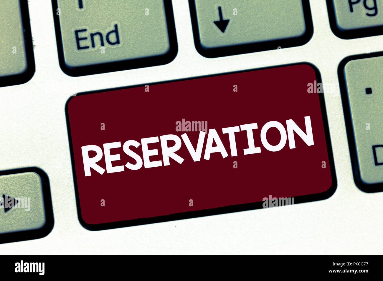 Handwriting text Reservation. Concept meaning Arrangement made so a seat somewhere is kept for someone. - Stock Image
