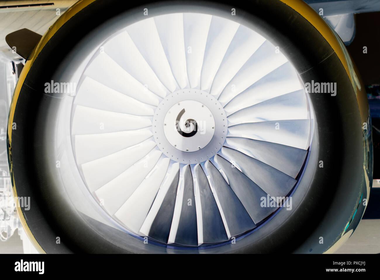 background, blade turbine engine civil aircraft closeup - Stock Image