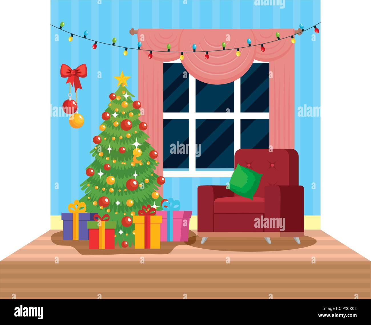 Christmas Room Stock Vector Image Of Illuminated: Living Room With Christmas Decoration Scene Vector
