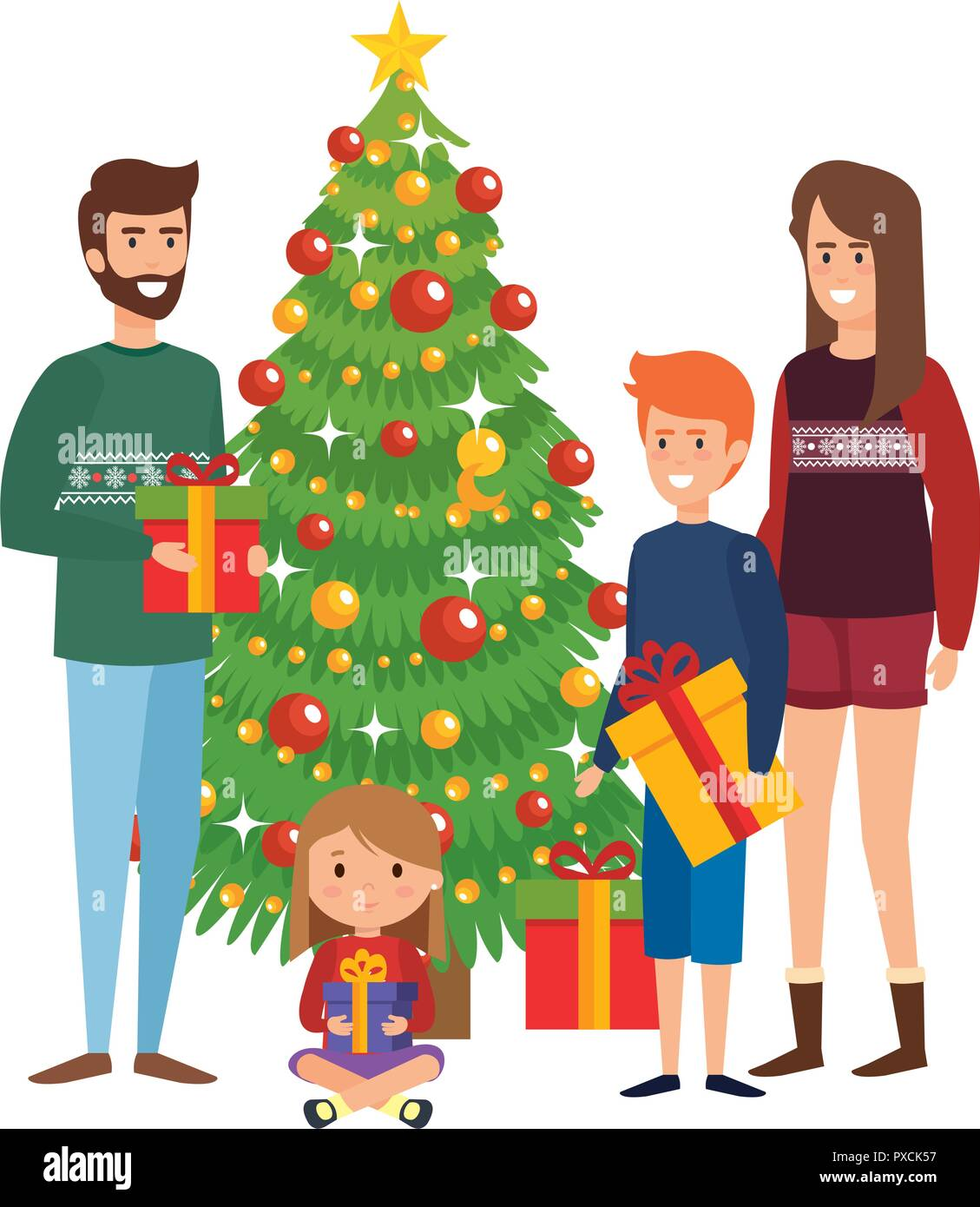 Parents Couple With Kids And Christmas Tree Vector Illustration Design Stock Vector Image Art Alamy These kids christmas cartoons are very spacious and can carry a lot of stuff, and come with wide straps are tender on shoulders and. https www alamy com parents couple with kids and christmas tree vector illustration design image222783939 html
