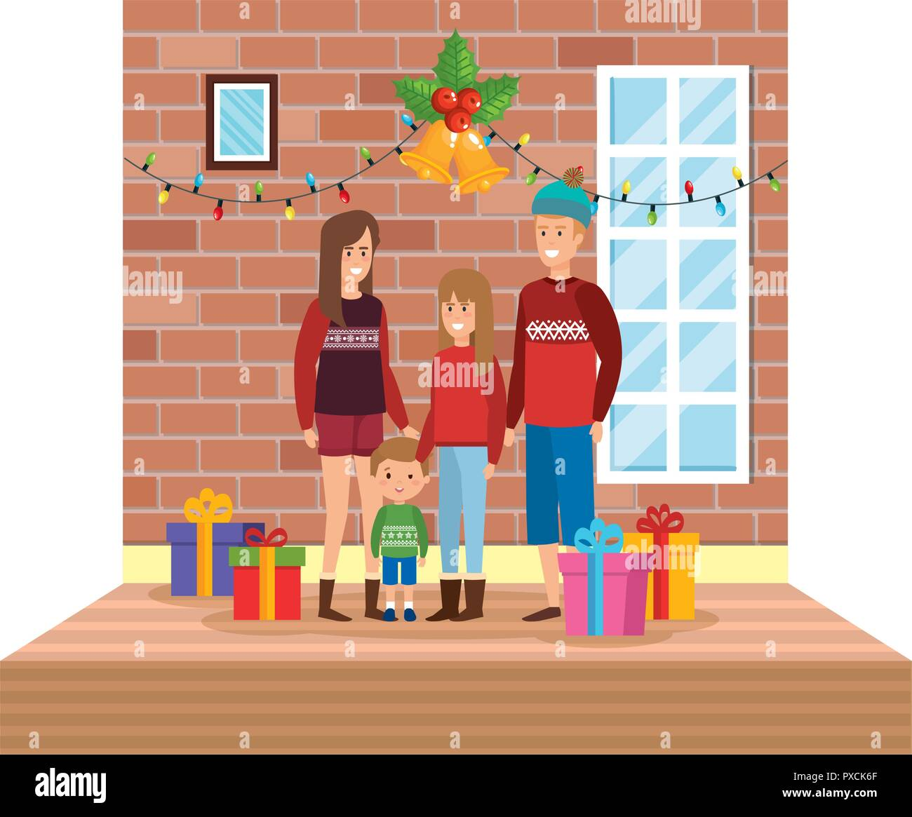 Parents With Daughter In Livingroom With Christmas Decoration Vector