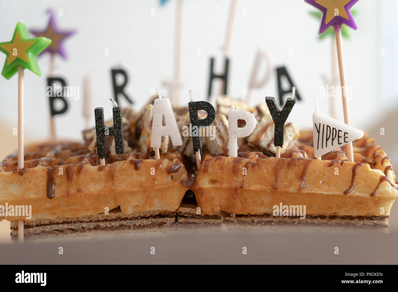 Birthday Cake With Waffles And Chocolate Ready To Eat At Party